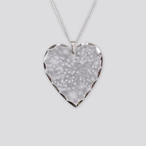 Silver Glitter Necklace Heart Charm