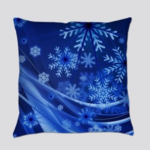 Blue Snowflakes Winter Everyday Pillow