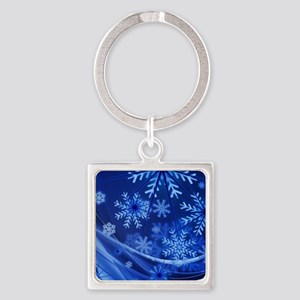 Blue Snowflakes Winter Keychains