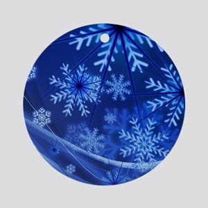 Blue Snowflakes Winter Round Ornament