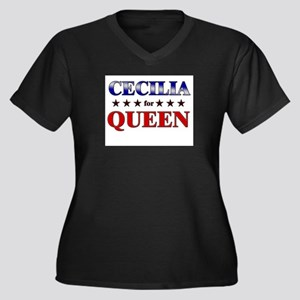 CECILIA for queen Women's Plus Size V-Neck Dark T-