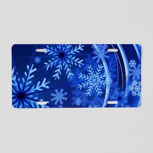 Blue Snowflakes Winter Aluminum License Plate