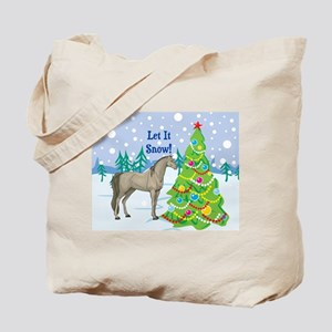 Let It Snow Arabian Horse Holiday Tote Bag