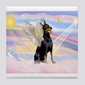 Dobie Angel in Clouds Tile Coaster