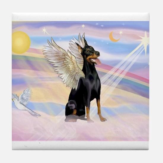 Dobie Angel in Clouds Tile Coaster