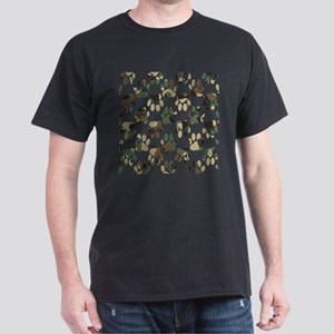 Camo Pattern Dog Paw Print T-Shirt