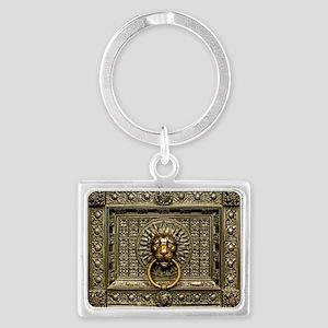 Doorknocker Lion Brass Landscape Keychain