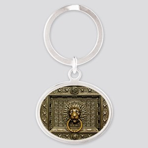 Doorknocker Lion Brass Oval Keychain