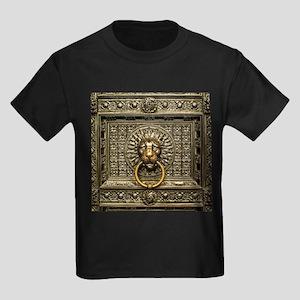 Doorknocker Lion Brass Kids Dark T-Shirt