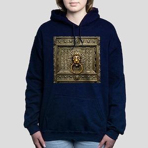 Doorknocker Lion Brass Women's Hooded Sweatshirt