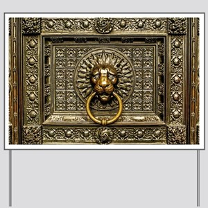 Doorknocker Lion Brass Yard Sign