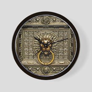 Doorknocker Lion Brass Wall Clock