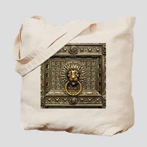 Doorknocker Lion Brass Tote Bag