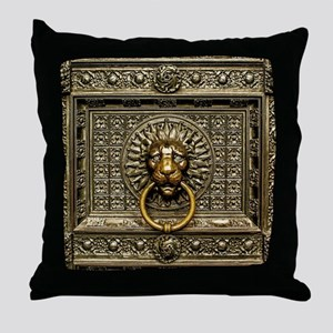 Doorknocker Lion Brass Throw Pillow