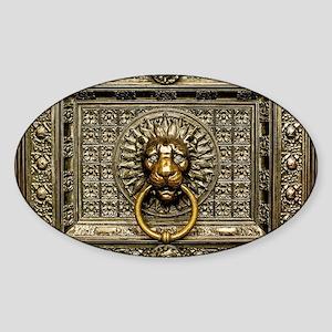 Doorknocker Lion Brass Sticker (Oval)