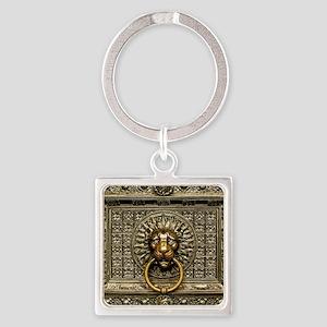 Doorknocker Lion Brass Square Keychain