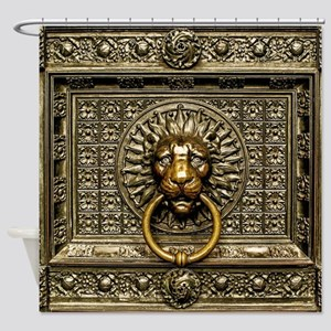 Doorknocker Lion Brass Shower Curtain