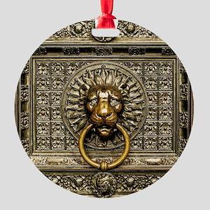Doorknocker Lion Brass Round Ornament