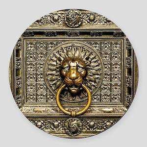 Doorknocker Lion Brass Round Car Magnet