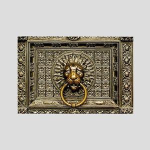 Doorknocker Lion Brass Rectangle Magnet