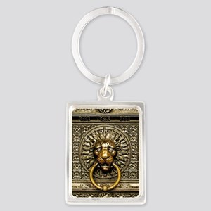 Doorknocker Lion Brass Portrait Keychain