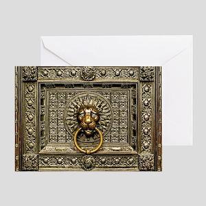 Doorknocker Lion Brass Greeting Card