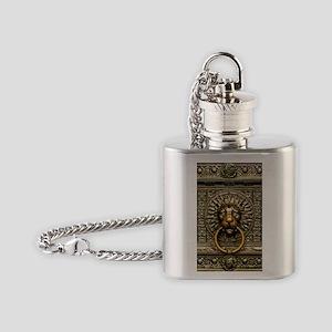 Doorknocker Lion Brass Flask Necklace