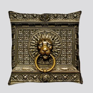 Doorknocker Lion Brass Everyday Pillow
