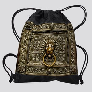 Doorknocker Lion Brass Drawstring Bag