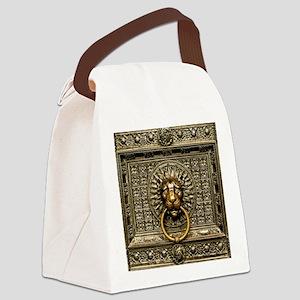 Doorknocker Lion Brass Canvas Lunch Bag