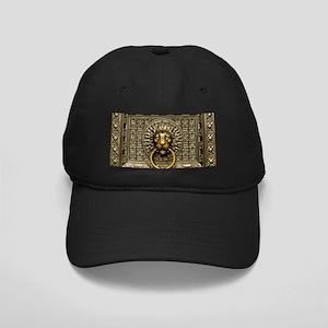 Doorknocker Lion Brass Black Cap with Patch