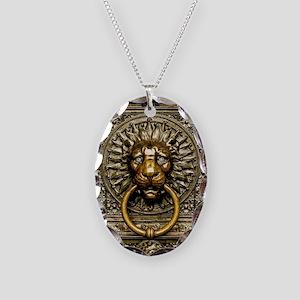Doorknocker Lion Brass Necklace Oval Charm