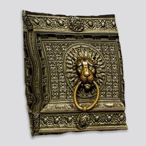 Doorknocker Lion Brass Burlap Throw Pillow