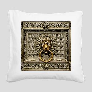 Doorknocker Lion Brass Square Canvas Pillow