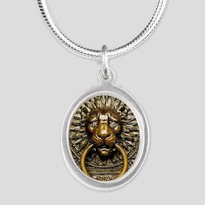 Doorknocker Lion Brass Silver Oval Necklace