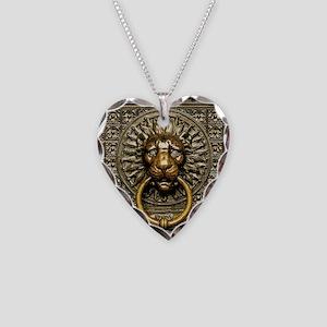 Doorknocker Lion Brass Necklace Heart Charm