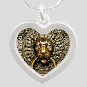 Doorknocker Lion Brass Silver Heart Necklace