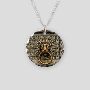Doorknocker Lion Brass Necklace Circle Charm