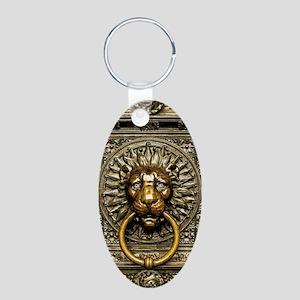 Doorknocker Lion Brass Aluminum Oval Keychain