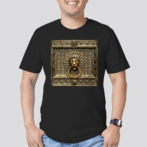 Doorknocker Lion Brass Men's Fitted T-Shirt (dark)