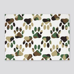 Camo Pattern Dog Paw Print 5'x7'Area Rug