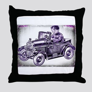 boy and his first car Throw Pillow