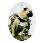 Vinny the Pug Oval Ornament