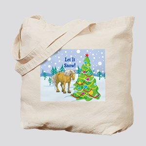Let It Snow Belgian Horse Holiday Tote Bag