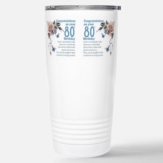 80th Birthday Rose And Butterfly Gift Mug Mugs