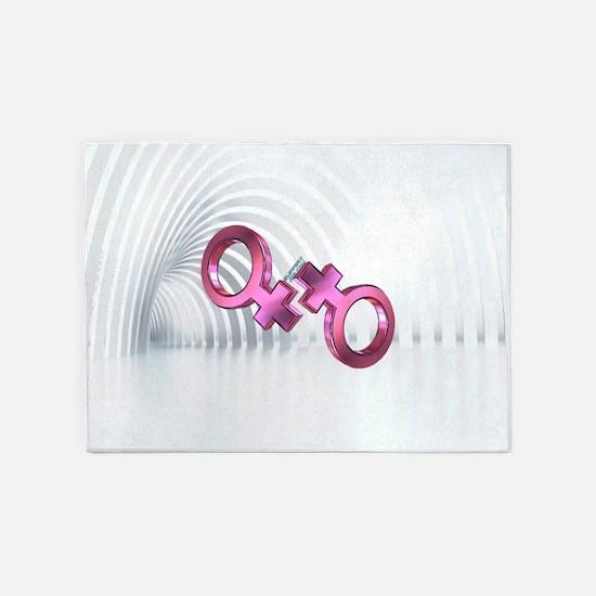 2 lesbian female symbols 5'x7'Area Rug