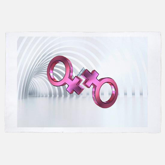 2 lesbian female symbols 4' x 6' Rug