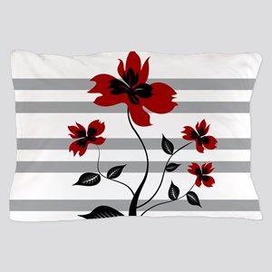 Modern Black and floral on gray stripe Pillow Case