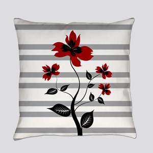 Modern Black and floral on gray st Everyday Pillow