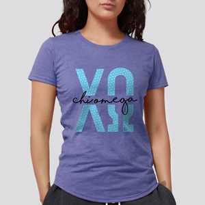 Chi Omega Polka Dots Womens Tri-blend T-Shirt
